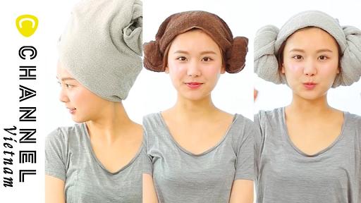 cách quấn khăn tắm trên đầu 3