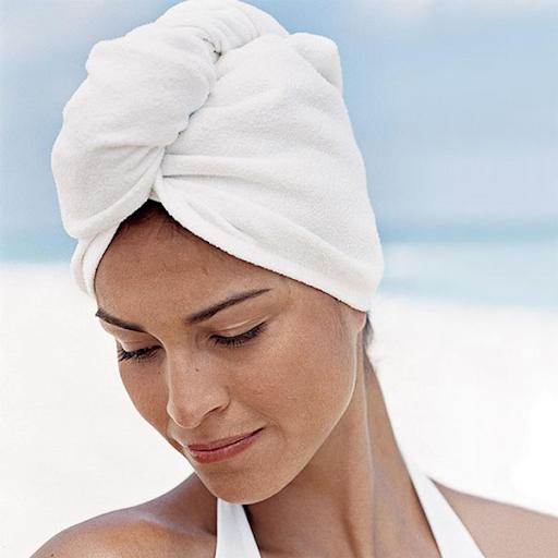 cách quấn khăn tắm trên đầu 4